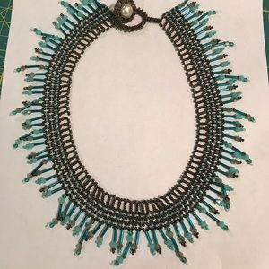 Brown &Turquoise beaded RBG style necklace